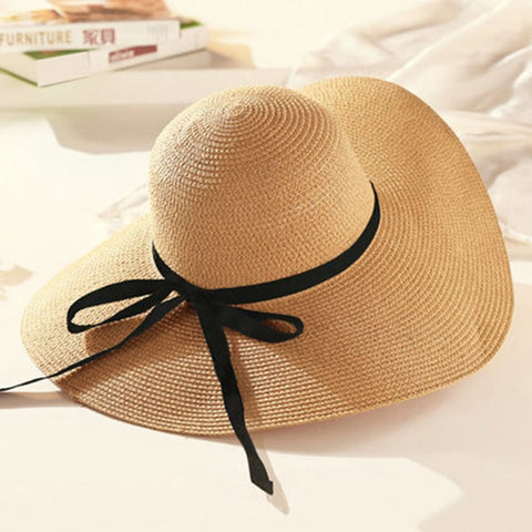 New 2019 Hot Sale Round Top Raffia Wide Brim Straw Hats Summer Sun Hats for Women With Leisure Beach Hats Lady Flat Gorras - PrintiLya