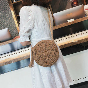Women Cross Body Bag Round Circular Rattan Wicker Straw Woven Beach Basket Purse - PrintiLya