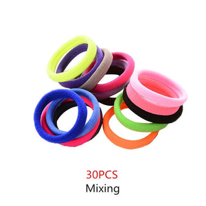 30Pcs Girls Candy Color Ring Elasticity Bands For Hair