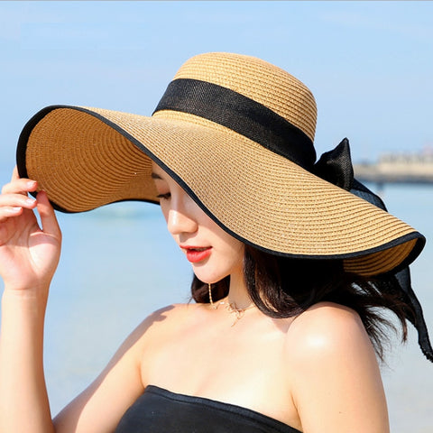 Summer Large Brim Straw Hat Floppy Wide Brim Sun Cap Bowknot Beach Foldable Hats New 2019 Hats for Women - PrintiLya