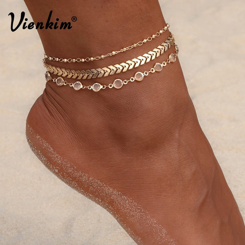 Vienkim 3Pcs/lot Crystal Sequins Anklet Set Beach Foot jewelry Vintage Ankle Bracelets For Women Summer Jewelry Party Gift 2019 - PrintiLya