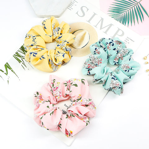2019 New Flower Hair Scrunchies Hairband Summer Headband for Women Candy Color Ponytail Holder Hair Ties Girls Accessories - PrintiLya