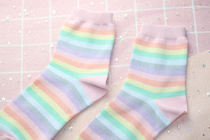 Women socks 1 pair long cotton rainbow color striped printed novelty fashion lady autumn socks - PrintiLya