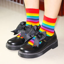 Load image into Gallery viewer, Women socks 1 pair long cotton rainbow color striped printed novelty fashion lady autumn socks - PrintiLya