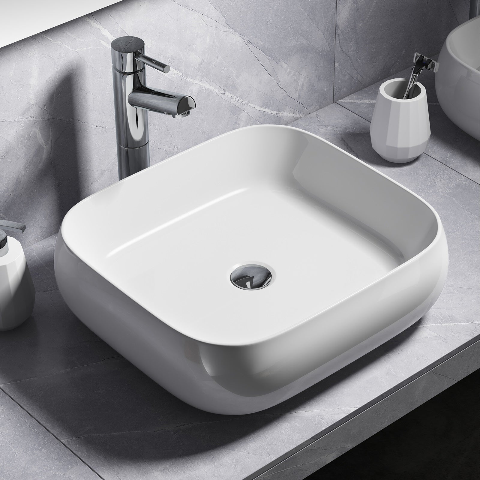 Improve your bathroom with this Rectangular Rounded Counter Top Vessel Ceramic Basin