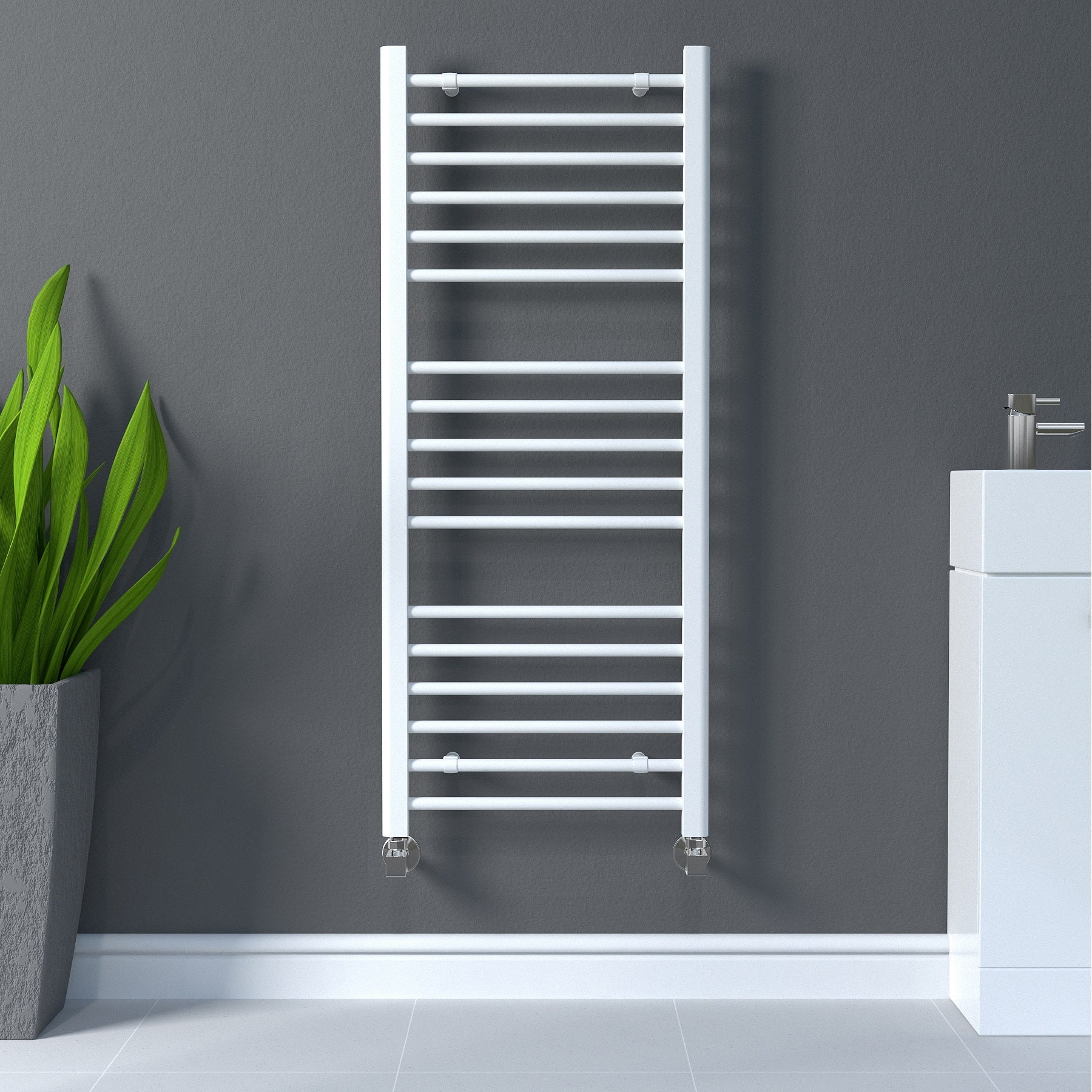 Keep your towels warm and tidy with this White Straight Heated Ladder Towel Radiator .