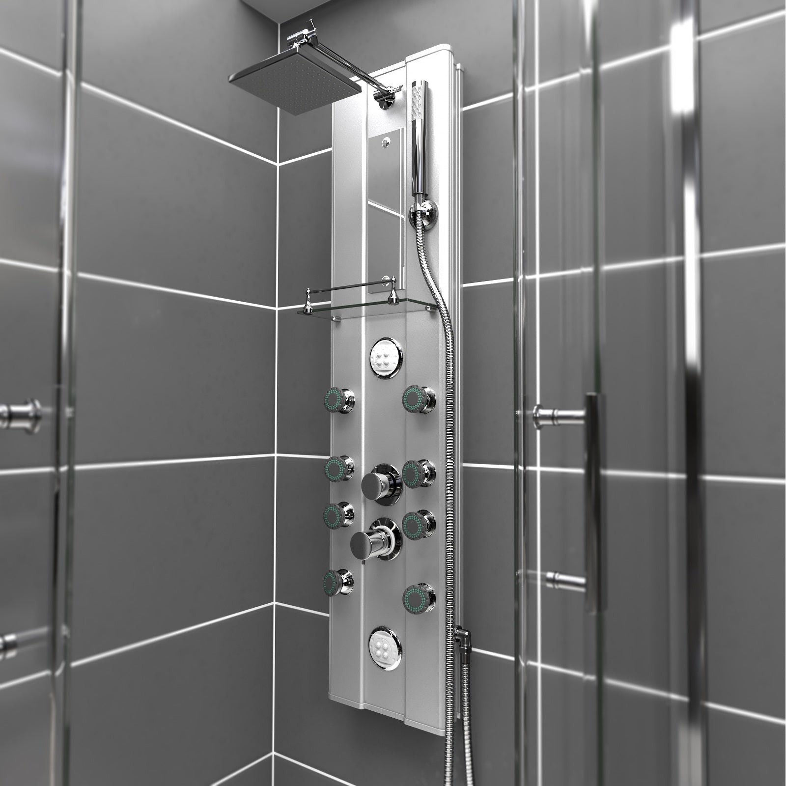 Shower in style with this Stainless Shower Tower Panel with Body Jets!