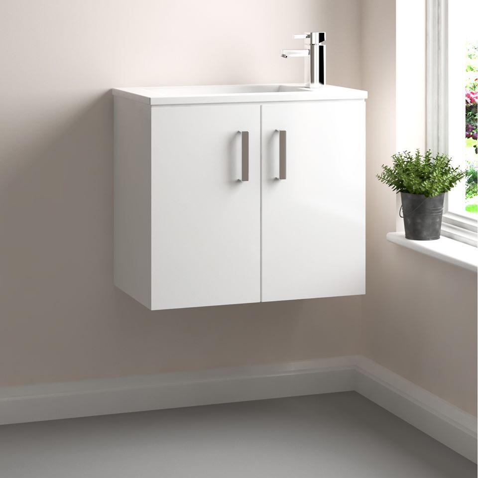 Add a hint of style to your bathroom with the Cubix 550mm Wall Hung Vanity Unit Basin