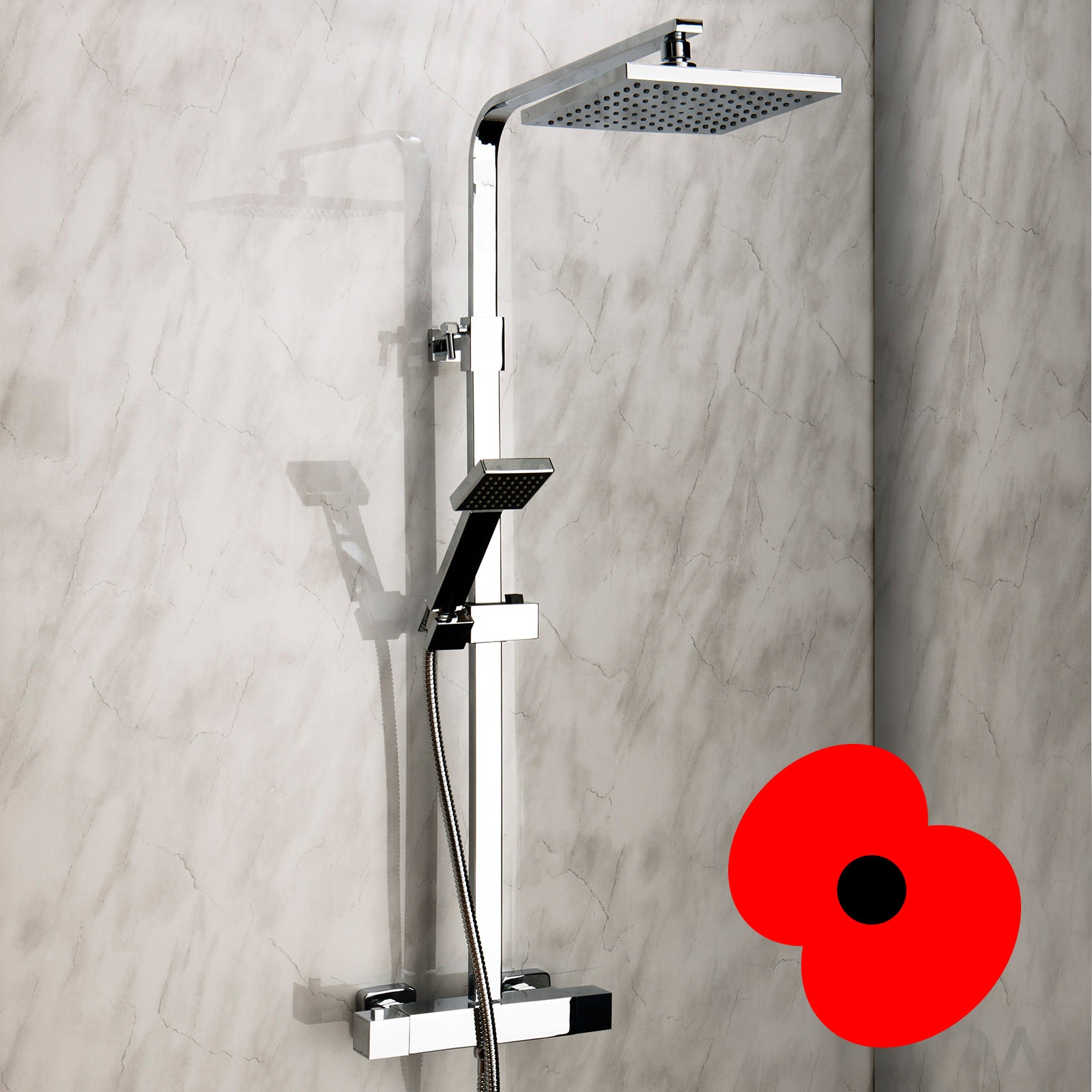 Shower in style with the Elite Square Head Shower!