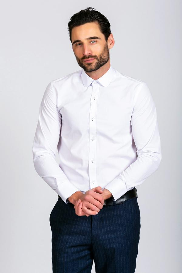 ARTHUR - Plain White Penny Collar Shirt | Marc Darcy - Wedding Suit Direct
