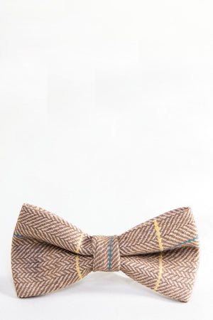 DX7 Oak Tweed Check Bow Tie - Wedding Suit Direct