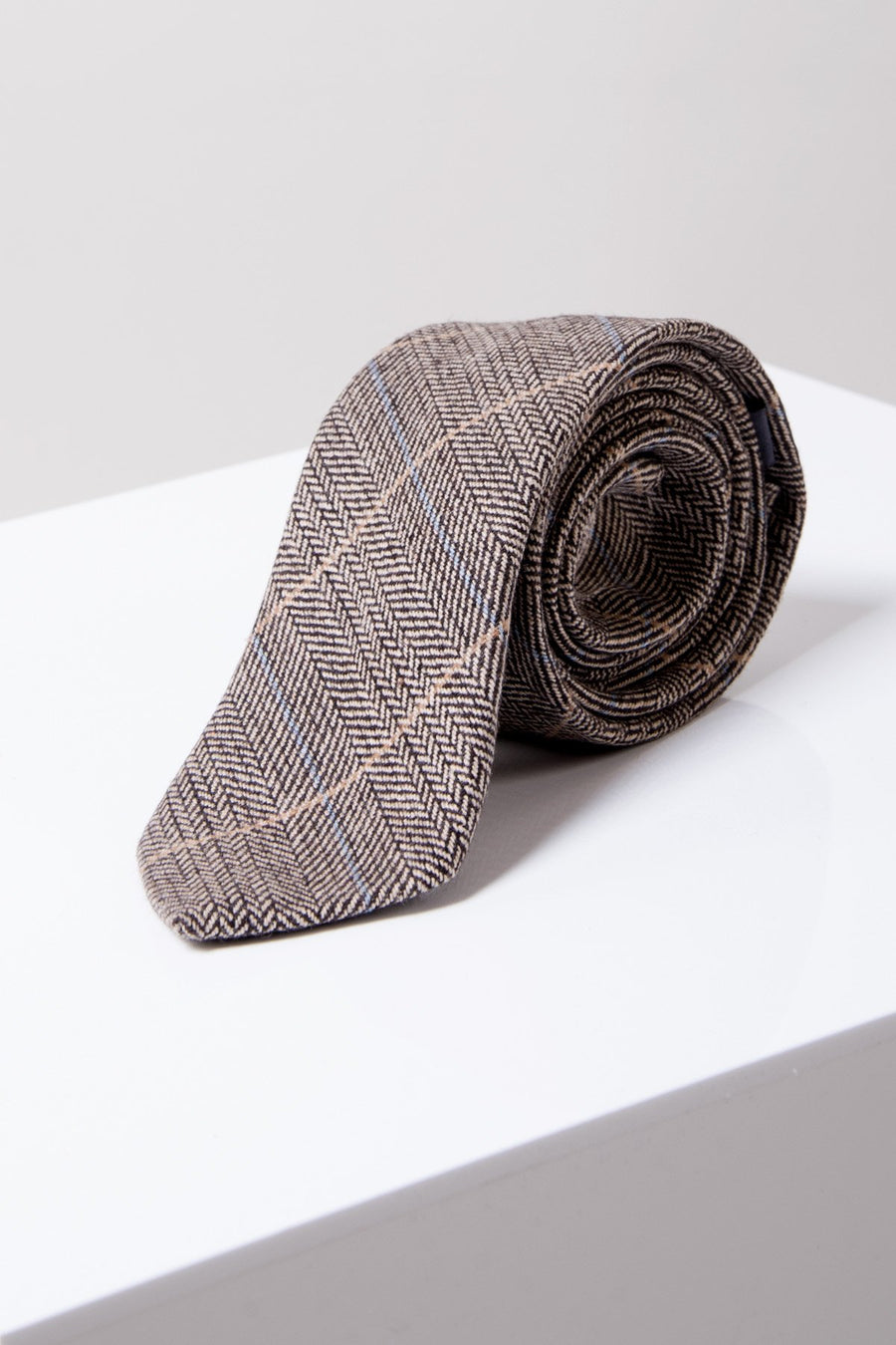 DX7 Tan Tweed Check Tie - Wedding Suit Direct