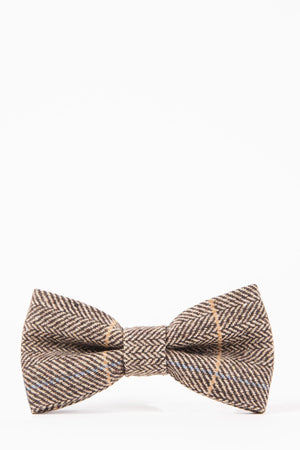 DX7 Tan Tweed Check Bow Tie - Wedding Suit Direct
