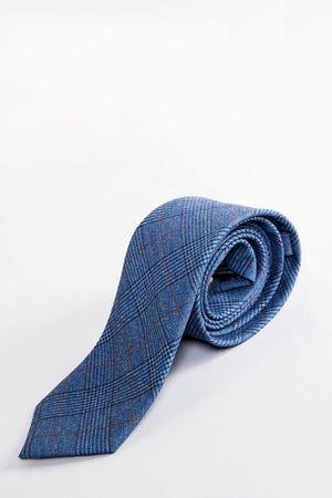 George Light Blue Check Tie - Wedding Suit Direct