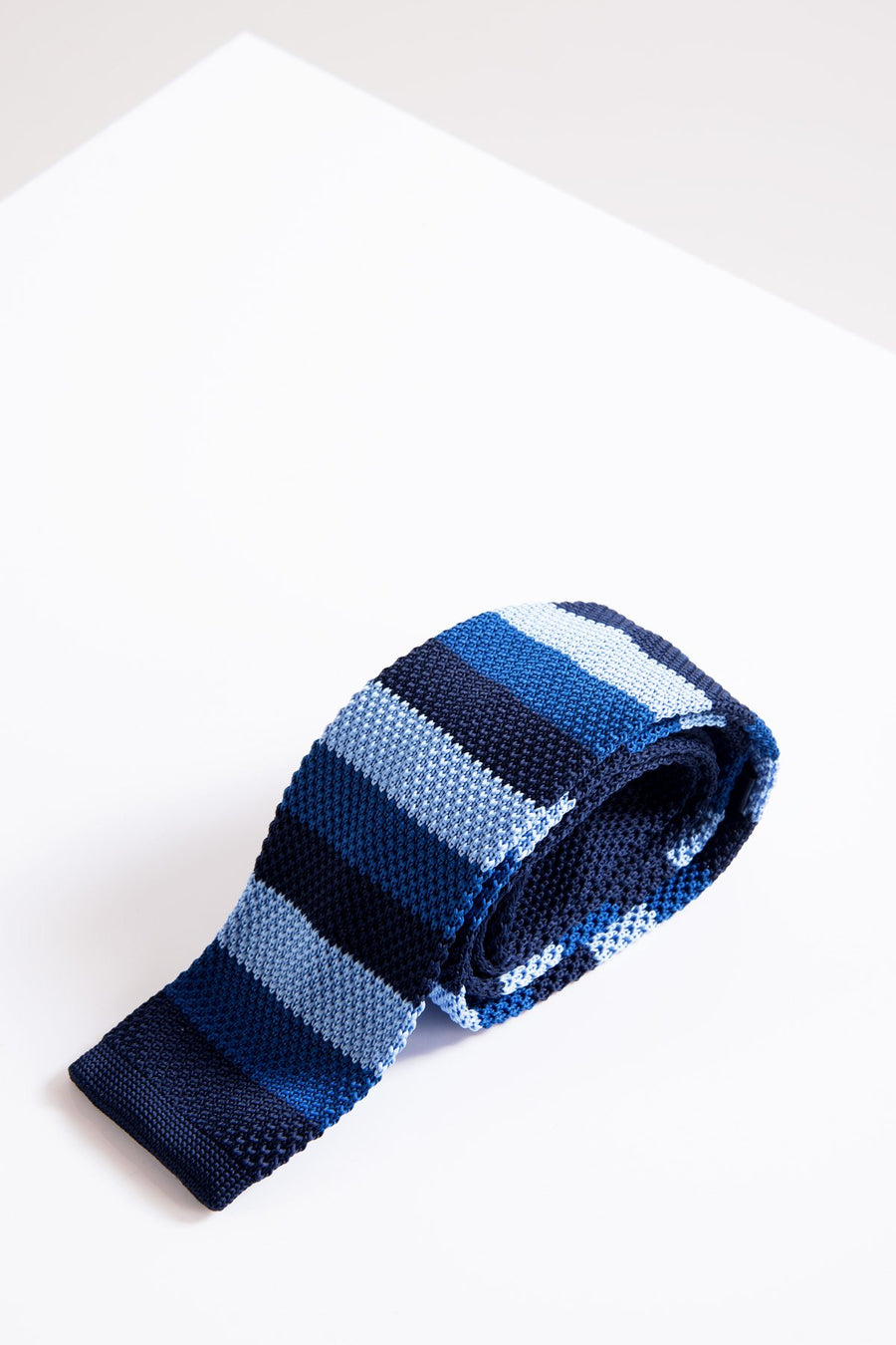 KT Blue Stripe Knitted Tie - Wedding Suit Direct