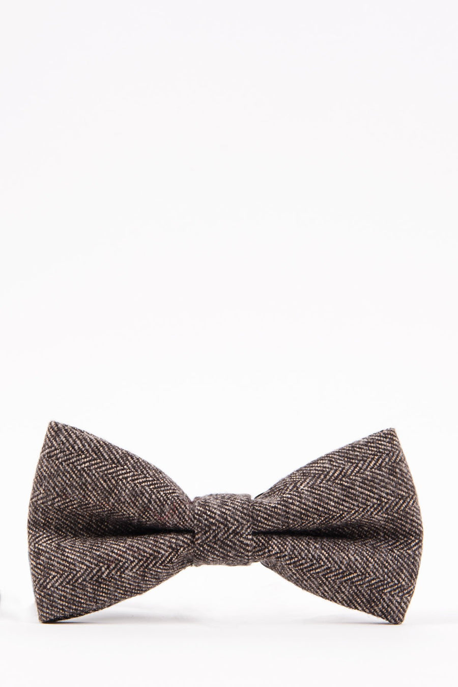 RAYFORD Tan Herringbone Tweed Bow Tie - Wedding Suit Direct