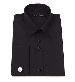 Black Classic Double Cuff Cotton Wedding Shirt - Wedding Suit Direct