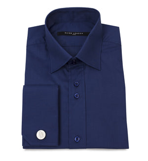 Navy Classic Double Cuff Cotton Wedding Shirt - Wedding Suit Direct