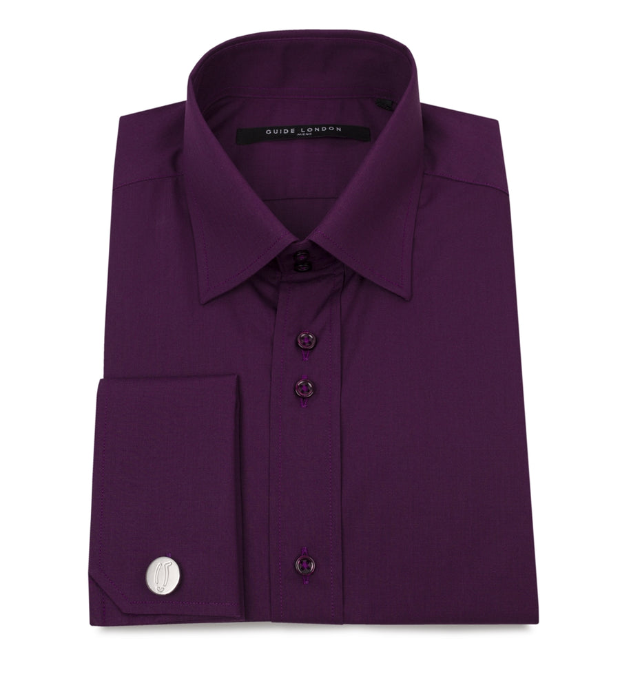 Plum Classic Double Cuff Cotton Wedding Shirt - Wedding Suit Direct