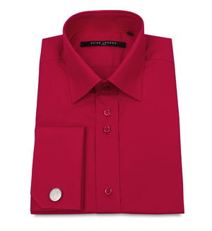 Red Classic Double Cuff Cotton Wedding Shirt - Wedding Suit Direct