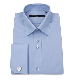 Sky Blue Classic Double Cuff Cotton Wedding Shirt - Wedding Suit Direct