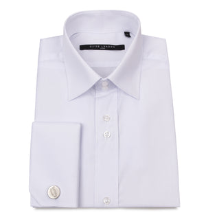 White Classic Double Cuff Cotton Wedding Shirt - Wedding Suit Direct