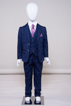 HARRY - Boys Indigo Tweed Check Three Piece Suit - Wedding Suit Direct