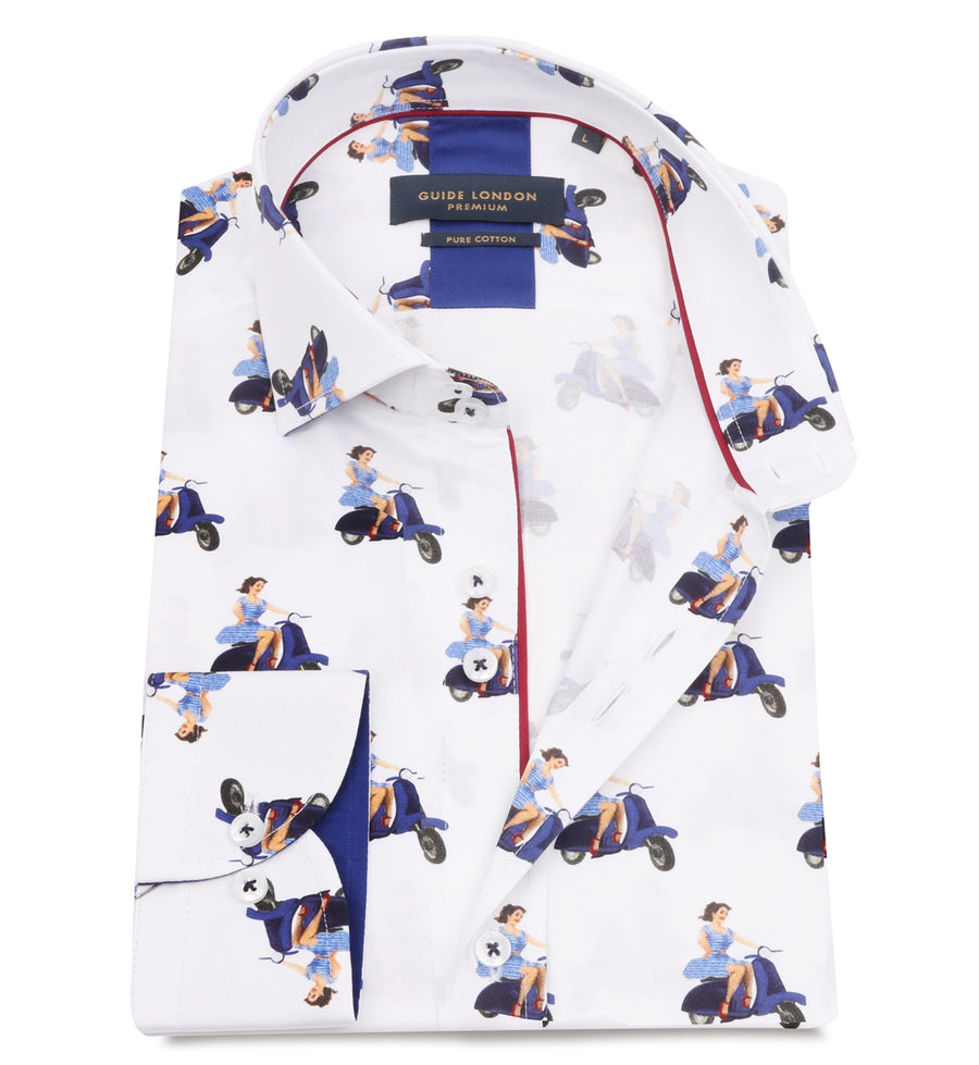 White Cotton Sateen Scooter Pinup Print Shirt - Wedding Suit Direct