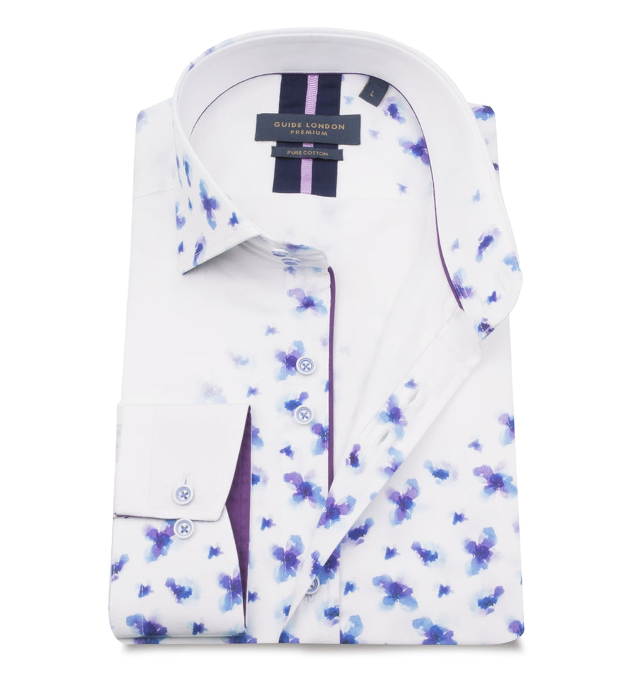 White Cotton Sateen Floating Floral Print Shirt - Wedding Suit Direct