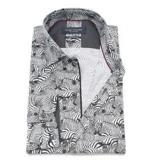 Cotton Retro Zebra Pattern Wedding Shirt - Wedding Suit Direct