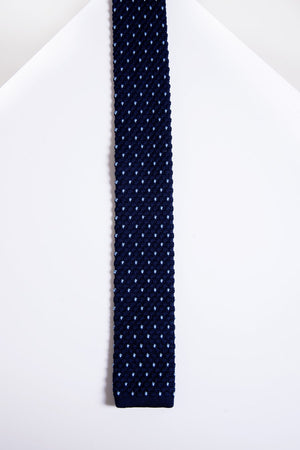 KT Navy Light Blue Spot Knitted Tie - Wedding Suit Direct