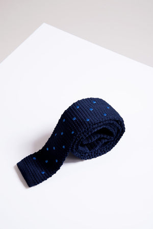 KT Navy Spot Knitted Tie - Wedding Suit Direct