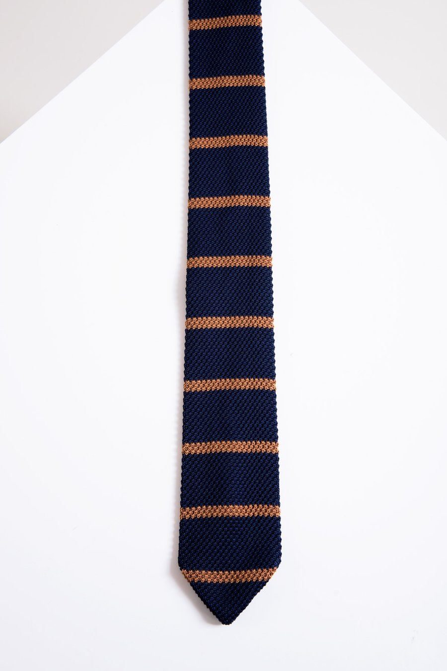 KTP Navy Tan Stripe Knitted Tie - Wedding Suit Direct