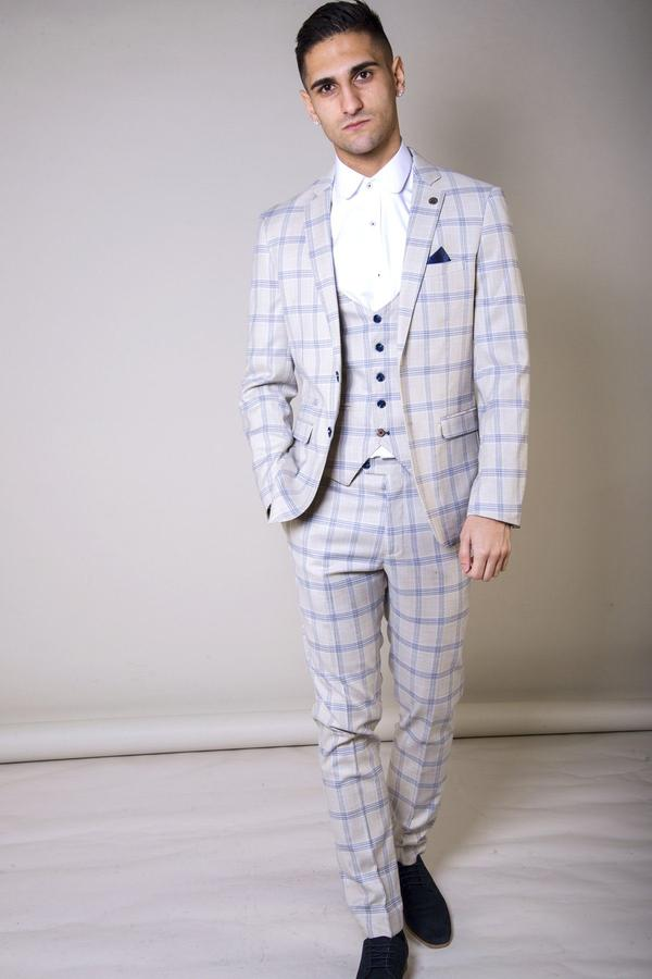 Suits For Wedding.Buxton Cream Check Wedding Suit