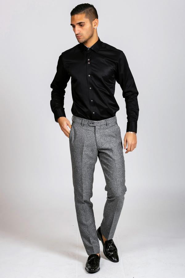 ALFIE - Black Long Sleeve Shirt | Marc Darcy - Wedding Suit Direct