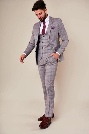 Alvin Grey Pink Check Wedding Suit - Wedding Suit Direct