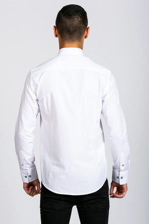 BILLY - White Contrast Long Sleeve Shirt | Marc Darcy - Wedding Suit Direct