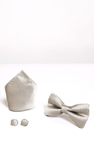 TB17 Birdseye Print Bow Tie, Cufflink and Pocket Square Set In Champagne - Wedding Suit Direct