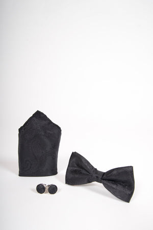 TS PAISLEY Black Paisley Bow Tie, Cufflink and Pocket Square Set - Wedding Suit Direct
