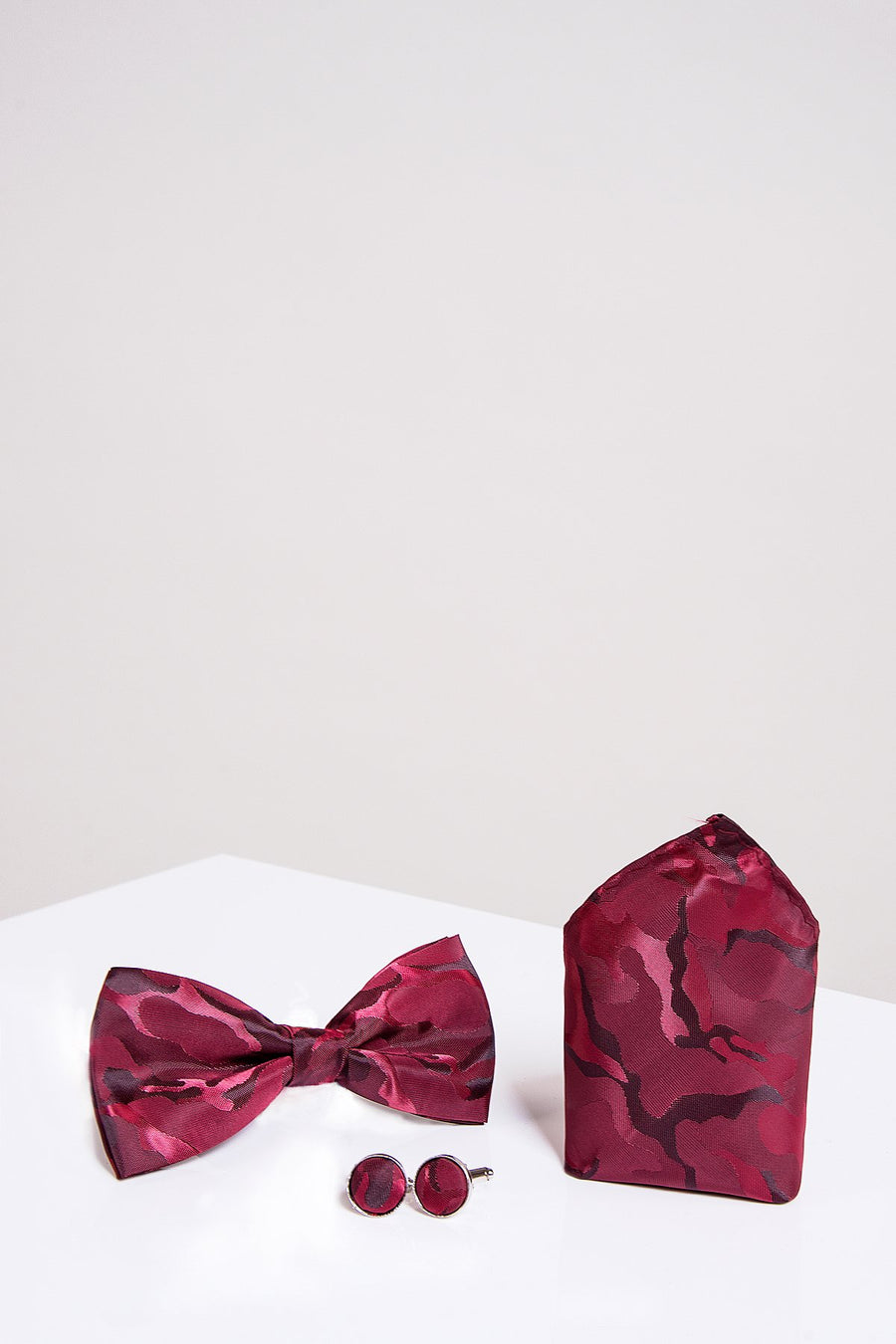 BT ARMY Wine Camouflage Bow Tie, Cufflink and Pocket Square Set - Wedding Suit Direct