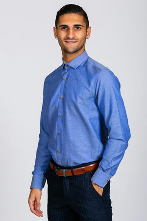 CHARLES - Denim Blue Button Down Collar Shirt - Wedding Suit Direct