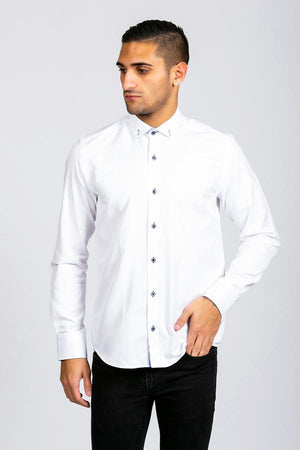 CHARLIE - White Button Down Collar Shirt With Blue Buttons - Wedding Suit Direct