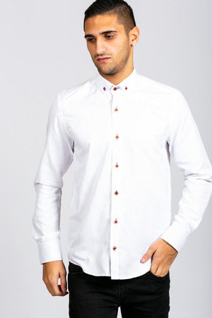 CHARLIE - White Button Down Collar Shirt With Wine Buttons - Wedding Suit Direct