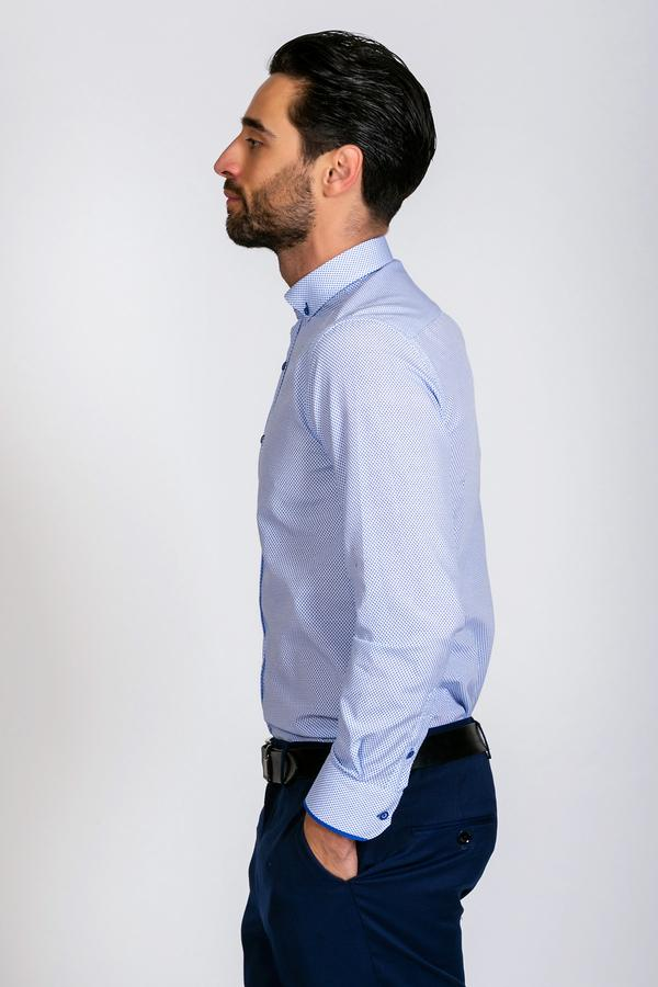 CHESTER - Blue Fine Print Long Sleeve Shirt - Wedding Suit Direct