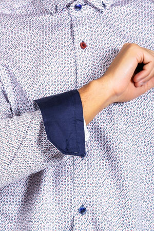 DENNIS - Navy & Wine Circle Print Cotton Shirt - Wedding Suit Direct