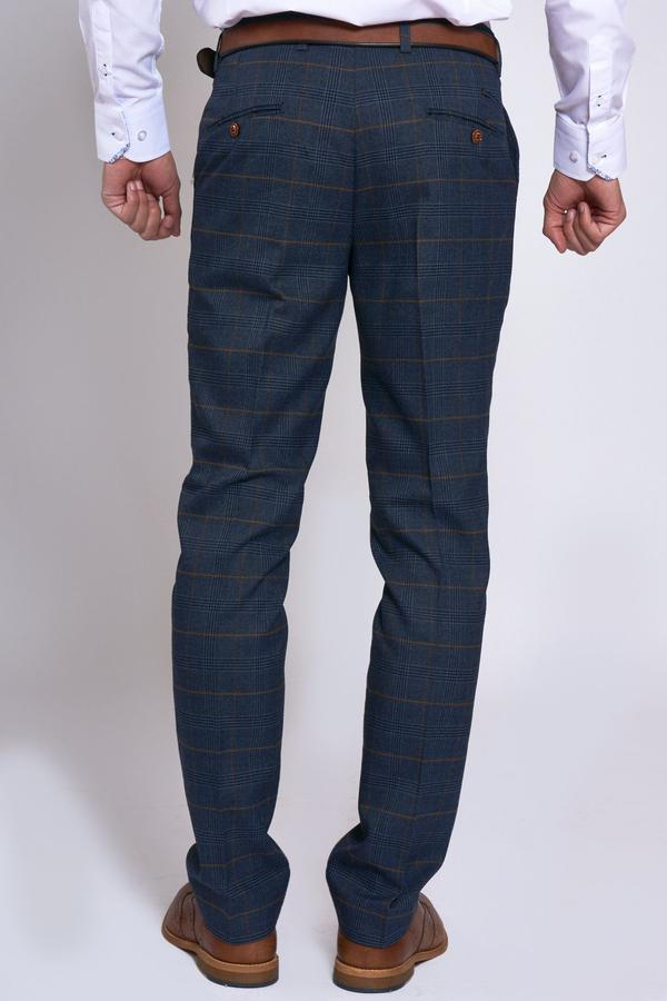 Jenson Navy Check Wedding Trousers - Wedding Suit Direct