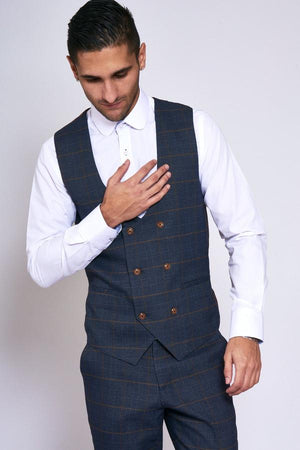 Jenson Navy Check Wedding Waistcoat - Wedding Suit Direct