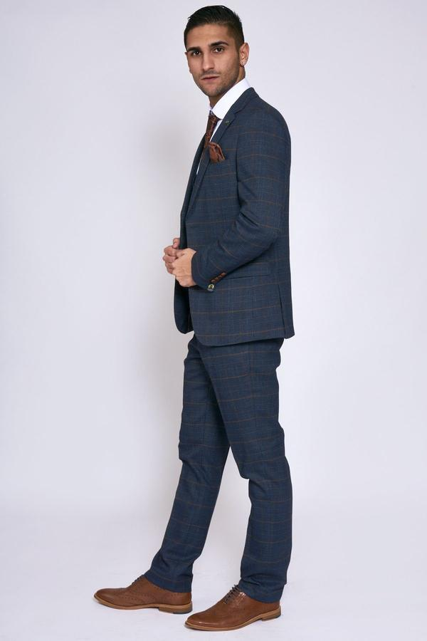 Jenson Navy Check Wedding Suit - Wedding Suit Direct