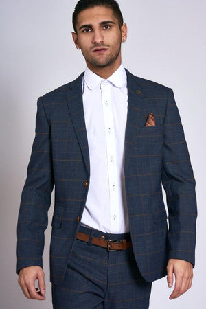 Jenson Navy Check Wedding Jacket - Wedding Suit Direct