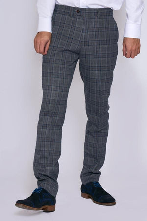 Enzo Grey Blue Check Tweed Wedding Trousers - Wedding Suit Direct